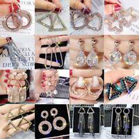 Elegant Heart Round Crystal Geometric Hoop Earrings Women Jewelry Party Gifts