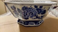Vintage Antique Porceleyne Fles Holland Dutch 8-sides bowl Delft Blue White Rare