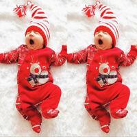 Christmas Newborn Infant Baby Boys Girls Deer Romper Jumpsuit Outfits Clothes AU