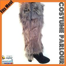 Womens Grey Fluffy Furry Boot Covers Rave Ladies Leg Warmers