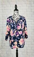 Croft & Barrow women's size xl 3/4 length  sleeve floral print stretch top b2