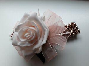 Prom /Wedding peach Rose Wrist Corsage/rose gold  bracelet /glitter/sparkle