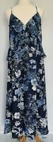 Witchery Limited Edition Size 12 Blue Floral Ruffle Pleat Sleeveless Maxi Dress