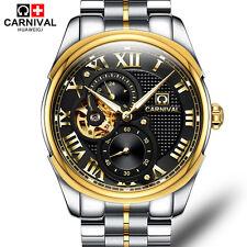 cdc2b5cbaf6 Carnival Men Skeleton Sapphire Gold Stainless Steel Waterproof Watch