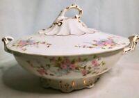 Vintage EPP Co. White Pink Floral Porcelain Footed Serving Bowl w/ Lid