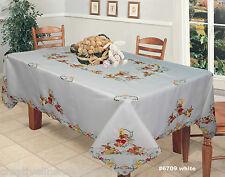 "Easter Bunny Egg White 70x90"" Tablecloth & 8 Napkins Creative Linens #6709"