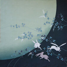 68*68cm Eco Wrapping Cloth Yuzen Kimono Muster Furoshiki Kaninchen und Mond Grün