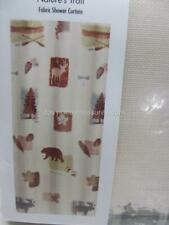 Cabin Bath Shower Curtain NATURES TRAIL Woods Moose Bear