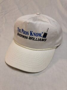 "Sherwin Williams Vintage White Hat ""The Pros Know"" Painters Cap Snapback"
