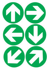 6 X DIRECTION ARROWS GREEN SELF ADHESIVE STICKERS SAFETY SIGNS
