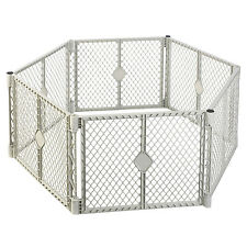 North States Superyard Classic Baby and Pet Gate Play Yard, Light Gray