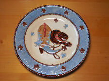 "Home Studio CANYON RANCH Dinner Plate 10 7/8"" Cowboy Boots Hat 1 ea"