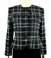 ALBERT NIPON Womens Wool Boucle Career Cropped Suit Jacket Blazer 4P Black