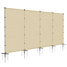 Beige 6ft Outdoor Mesh Fence w/Poles Movable Freestanding Backyard Pool Fencing