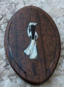 joli miroir de sac asiatique en bois et incrustation de nacre