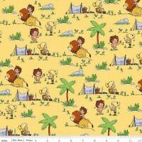 TARZANIMALS ALL OVER YELLOW Cotton Print by RILEY BLAKE BTY