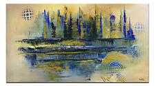 BURGSTALLER braun gold blau abstraktes Leinwandbild Wandbild XXL 80x140 TORNADO