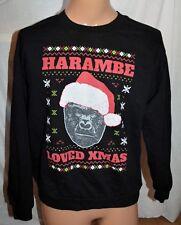 Harambe Loved Christmas Gorilla Ape Xmas Funny Crewneck Sweatshirt size L
