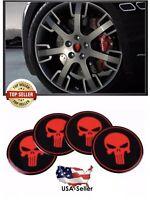 4pcs 56mm Skull Punisher Wheel Rim Center Hub Cap Sticker Emblem Decals Red 2.25