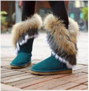 Chic Womens Nubuck Cow Leather Real Rabbit Fox Fur WInter Fur Lining Boots Shoes