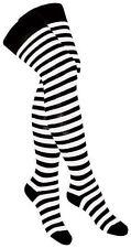 OVERKNEES STRÜMPFE - schwarz weiß gestreift Zebra SOC 001