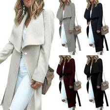 Women Ladies Lapel Slim Long Coat Jacket Outwear Waterfall Trench Overcoat 8-16
