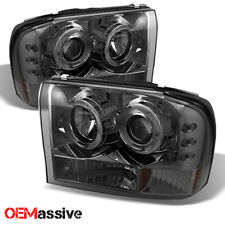 Fits 99-04 F250 Super Duty Excursion Smoke Halo LED 1 Piece Projector Headlights