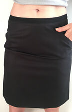 H&M A-Line Skirt Solid Black with Black Trim at Waist Front Pockets Lined Size 8