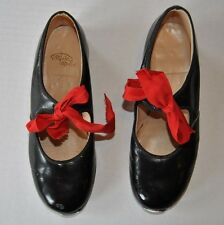 VINTAGE TAP DANCE SHOES 1960S TIP-TOP-TAP-TIE BLACK PATENT LEATHER GIRLS SIZE 11
