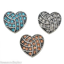 3 PCs Silver Tone Mixed Heart Shape Rhinestone Snap Button Click Jewelry 2cm