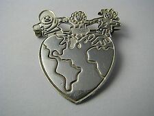 """Children Health Day"""" Taxco Mexico 1970s 00004000 Modern Sterling Silver Brooch Pin """"World"""