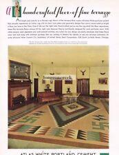1934 Atlas White Portland Cement geometric floor design Home Decor Vtg Print Ad