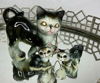 Vintage Figurine Cats Family Rhinestone Eyes Kitty China Animals Set 3 #MN