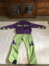 "MEN""S VTG SPYDER TWO PIECE SKI SUIT PURPLE/LIGHT GREEN SIZE LARGE"