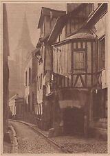 G1781 France - Rouen - Rue des Matelas et église St-Vivien - 1933 vintage print