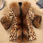 Womans Luxurious Fur Leopard Mid Long Parka S-6XL Plus Size Outwear Jacket Coat