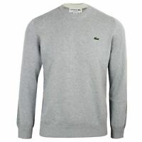 LACOSTE SWEATSHIRT MENS GREY MARL CREW NECK KNIT TOP
