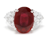 9.40 Carats Red Ruby and Natural Diamond 14K Solid White Gold Ring