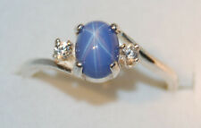 7x5 mm oval Azure Blue LINDE STAR SAPPHIRE Accented RING 925 S. SILVER SZ #7