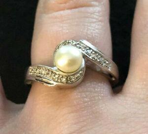 Sterling Silver Ring FW Pearl CZ Accent Swirl 5.7mm Sz 7.25 3g Rhodium 925 #1242