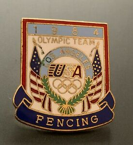 FENCING USA TEAM NOC 1984 LOS ANGELES OLYMPIC PIN BADGE LA84 CLOISONNE PIN