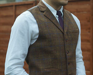 Mens Milano Tweed Collared slim fit Waistcoat Check Notched Lapel Vintage