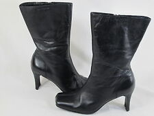 Hush Puppies Black Leather Lined Winter Fashion Boots Size 7.5 M US Excellent