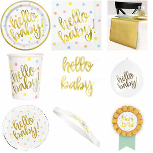 Baby Shower Neutral Gold Decorations Tableware Balloons Banners Plates Games