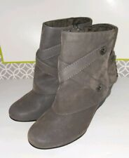 New BLOWFISH Gray leather suede Booties Wedge Ankle Boots Womens Size 7M
