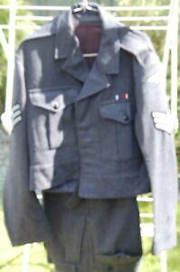 Vintage RAF Sergeant's Battle Dress Wool Uniform Jacket & Trousers Long Service