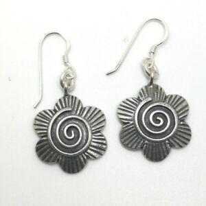 925 Fine Silver Earrings Thailand Jewelry Sakura & Spiral Flower theme
