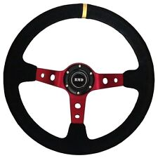 "Steering Wheel 350mm Black Suede 3"" Dished With OMP MOMO Mounting SVi-4152BSUR"
