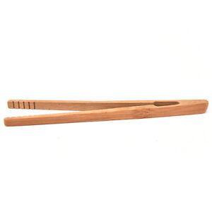 Practical Textured Bamboo Kongfu Tea Utensil Tweezers 14.5cm Wood Color BDNWAU