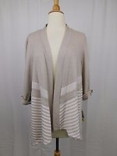 Alfred Dunner Petite Striped Open Front Cardigan Fawn Beige PM Medium #4713
